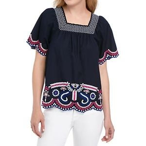 Crown & Ivy Navy Floral Embroidered Blouse Large